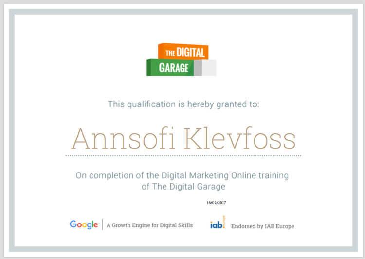 digital garage sertifisering